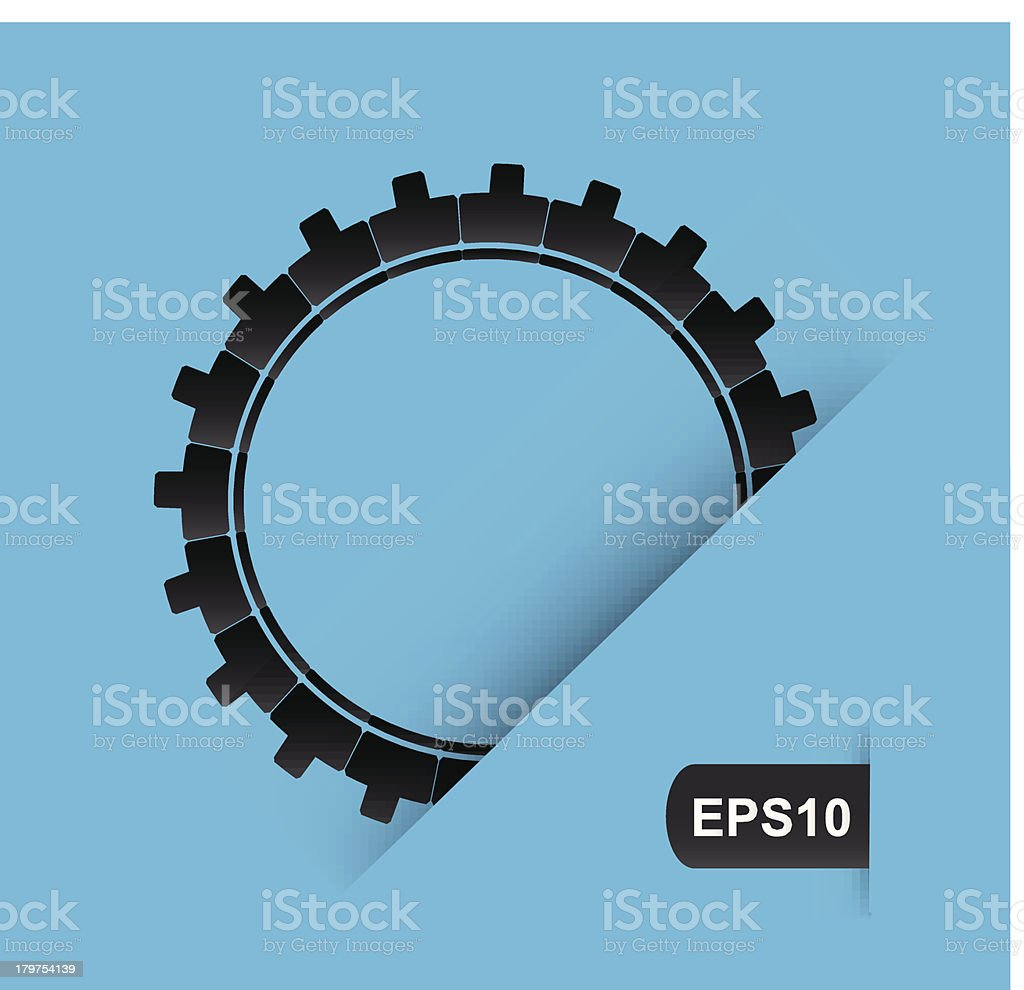 black gear on a blue background vector art illustration