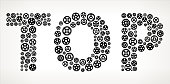 TOP Black Gears Vector Graphic Illustration