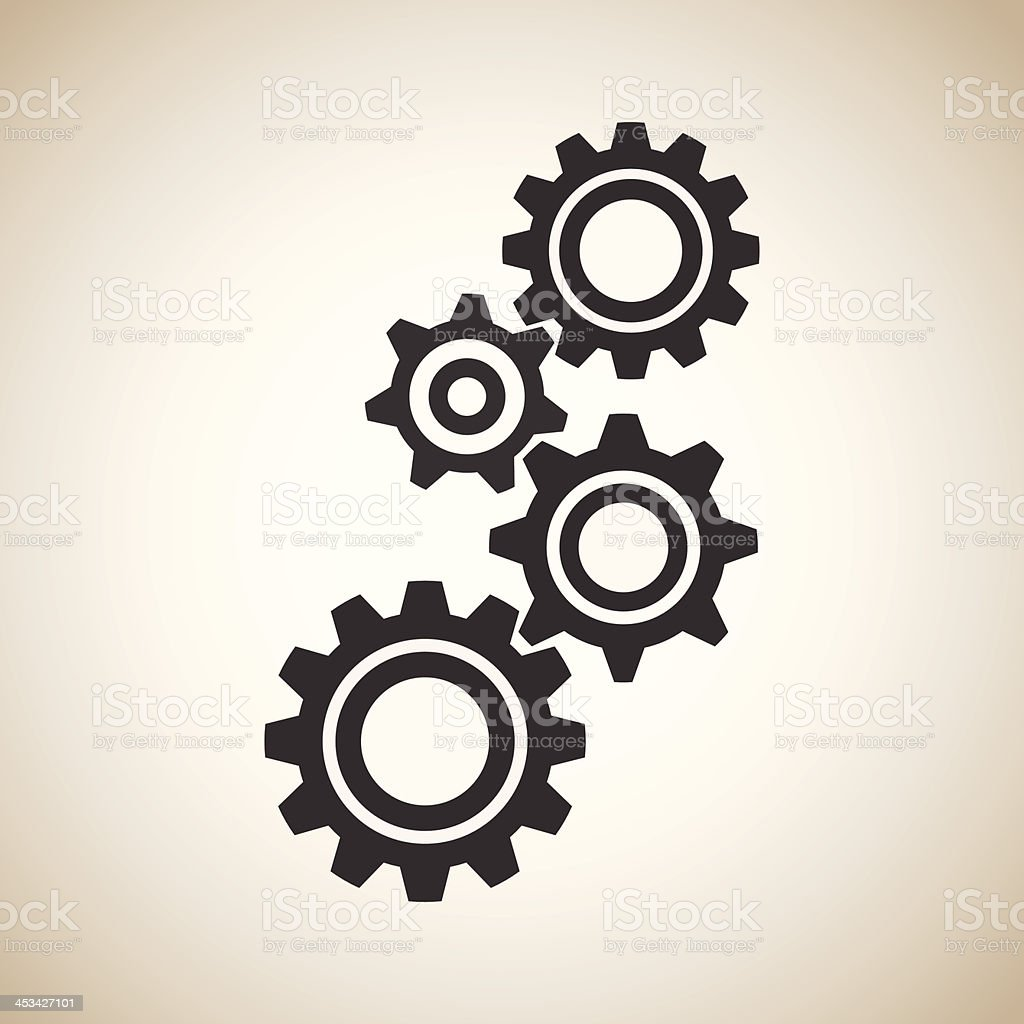 black gears vector art illustration