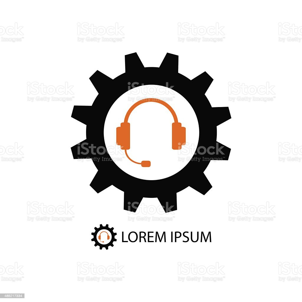 Black gearwheel and orange headset as support icon vector art illustration