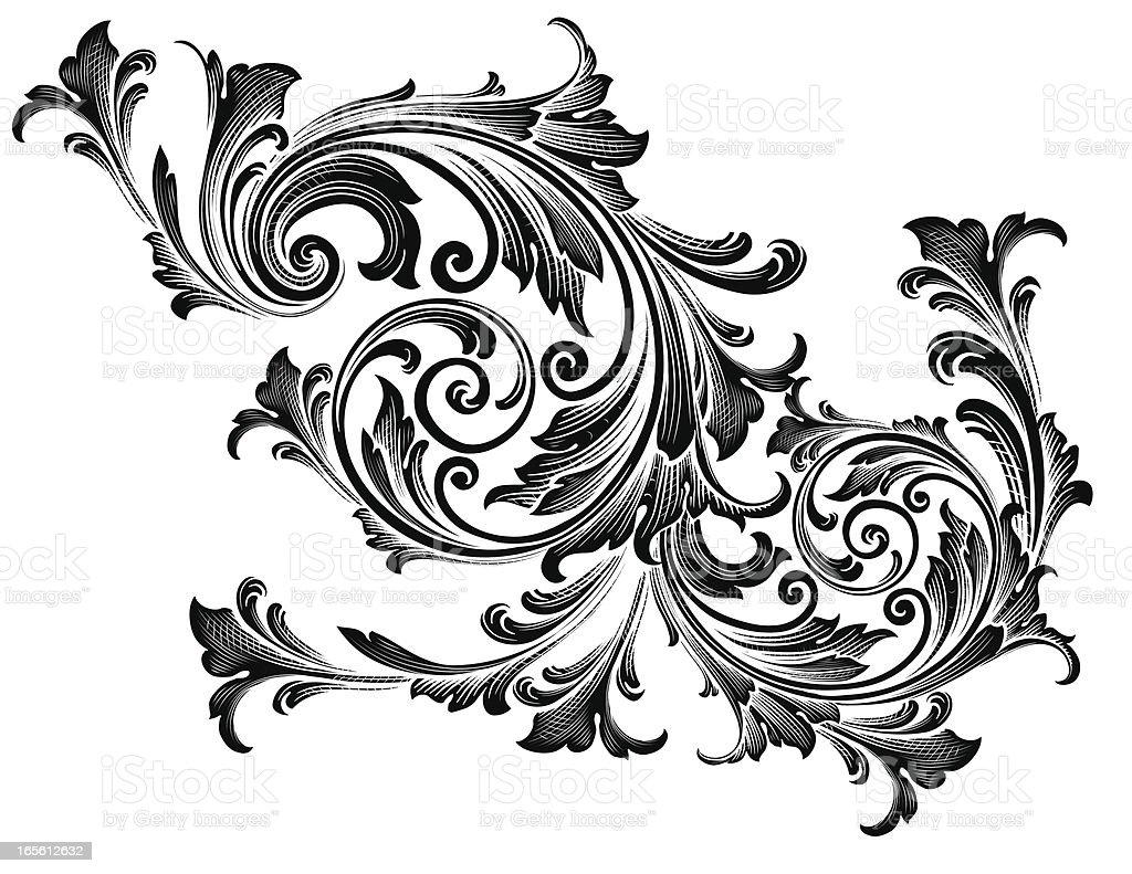 Black Germanic Scrollwork royalty-free stock vector art