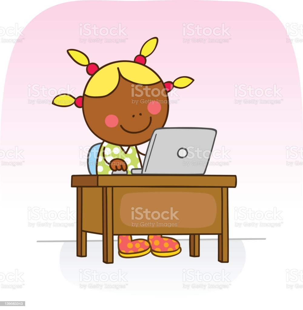black girl online with computer cartoon illustration royalty-free stock vector art