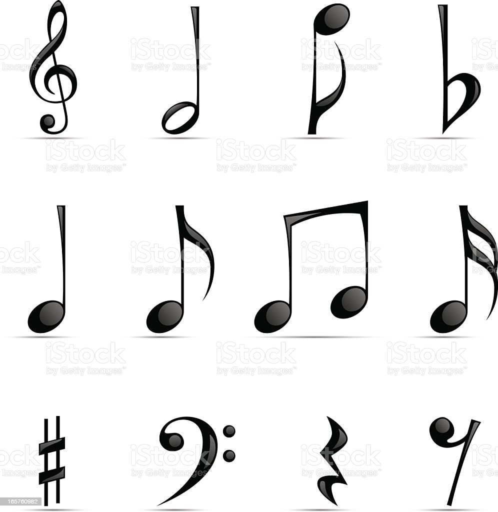 Black Glossy Musical Note vector art illustration