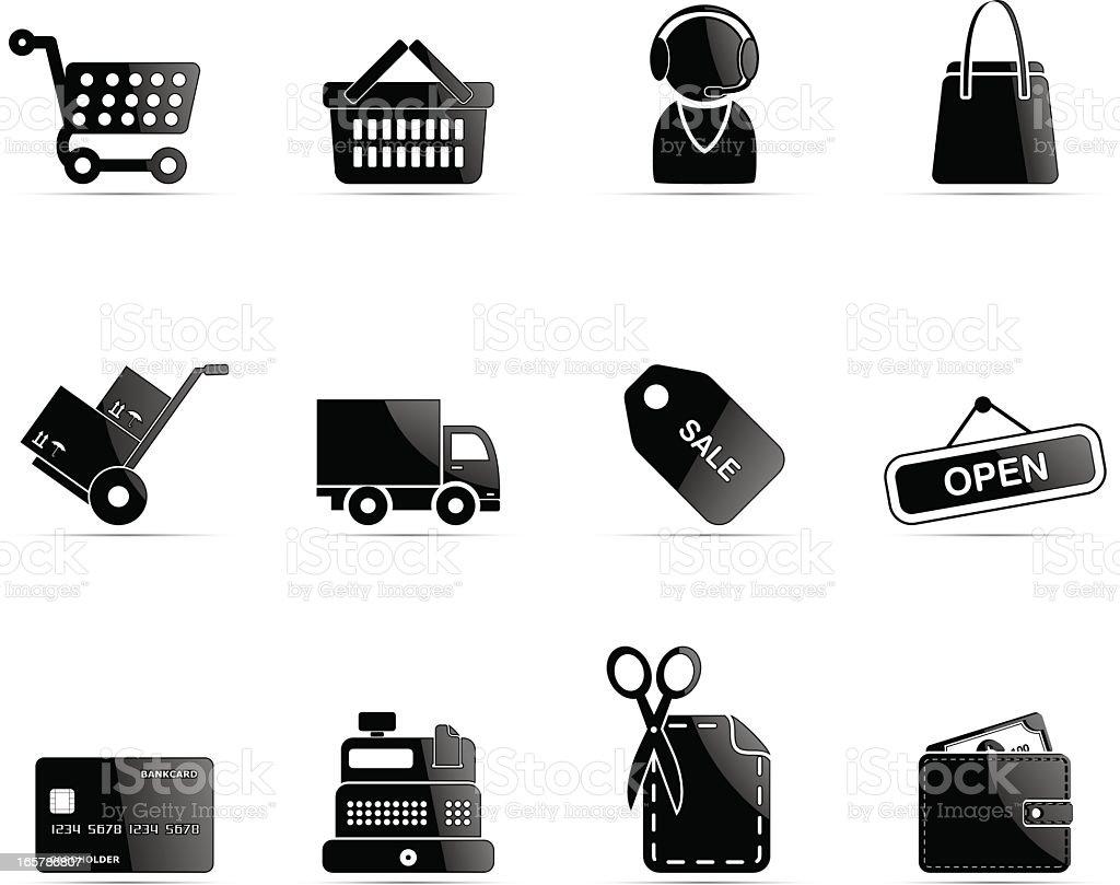 Black glossy shopping icon royalty-free stock vector art