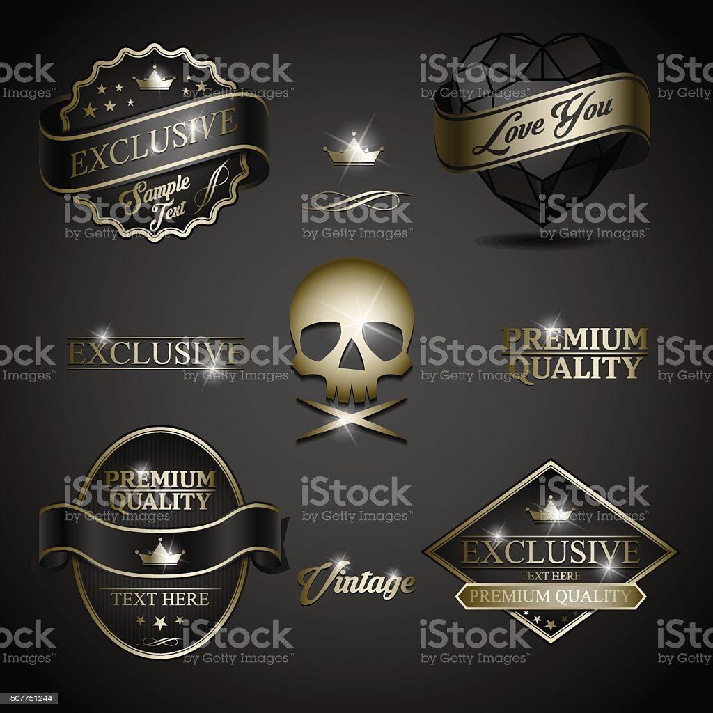 black gold label vector art illustration