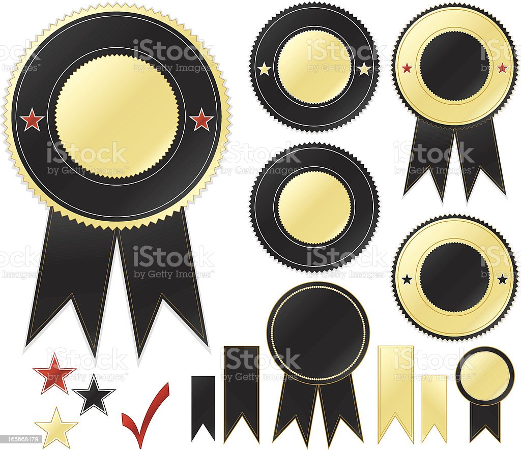 Black, Gold Round Emblems and Stickers Set royalty-free stock vector art