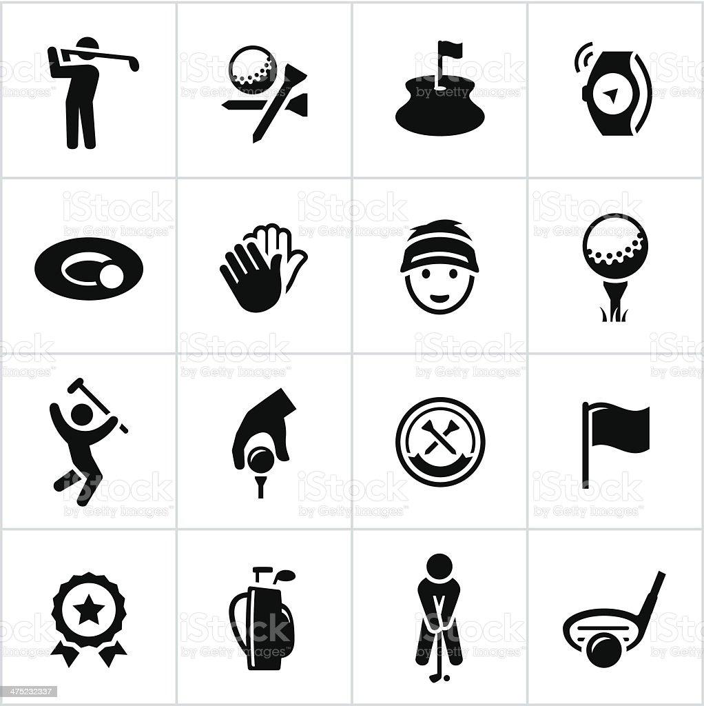 Black Golf Icons vector art illustration