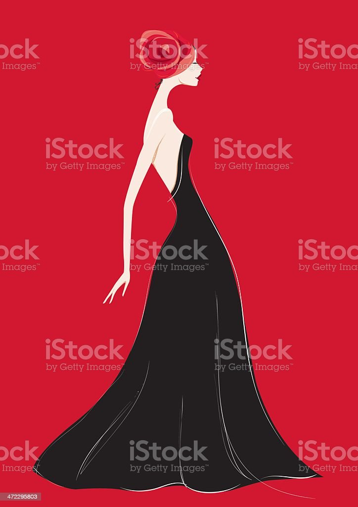 Black gown and a rose vector art illustration