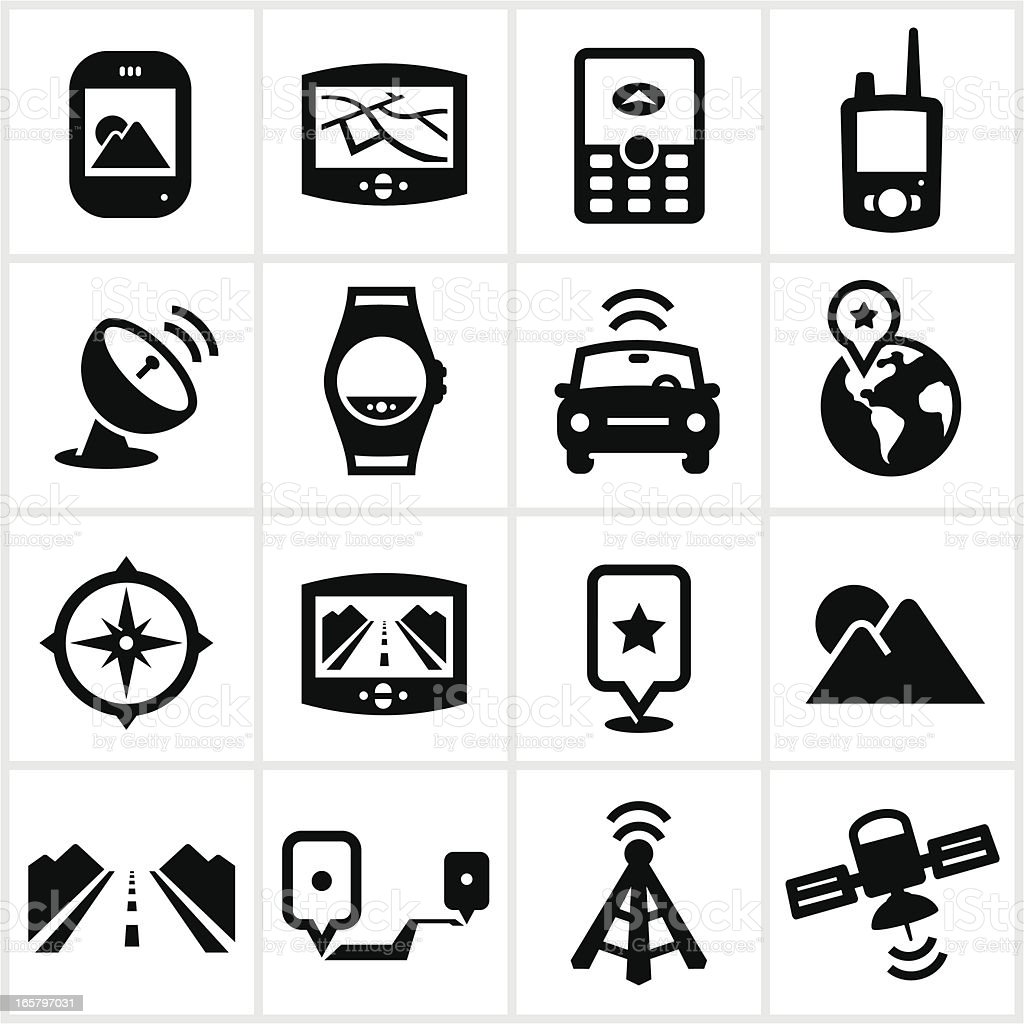 Black GPS Icons royalty-free stock vector art