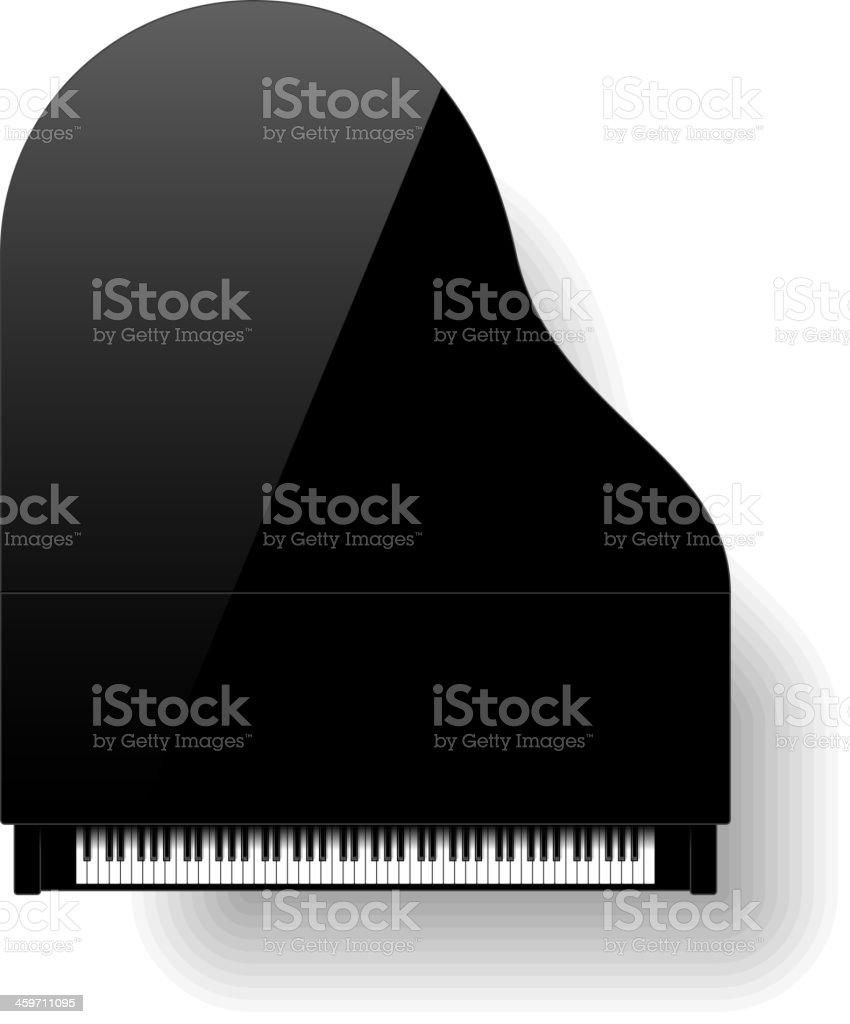 Black grand piano top view vector art illustration