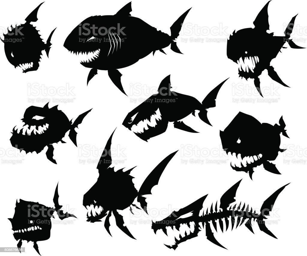 Black graphic silhouette cool monster fish on white background vector art illustration