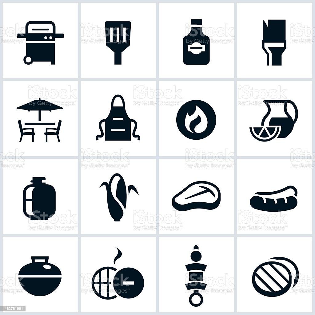 Black Grilling and BBQ Icons vector art illustration
