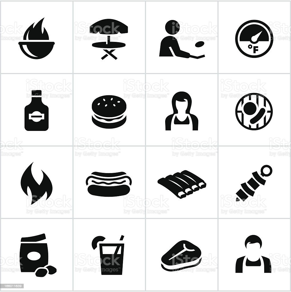 Black Grilling Icons royalty-free stock vector art
