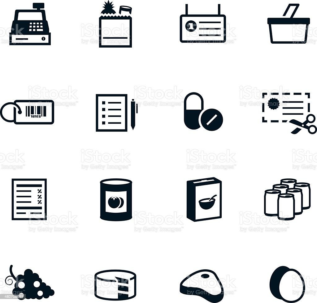 Black Grocery Icons vector art illustration