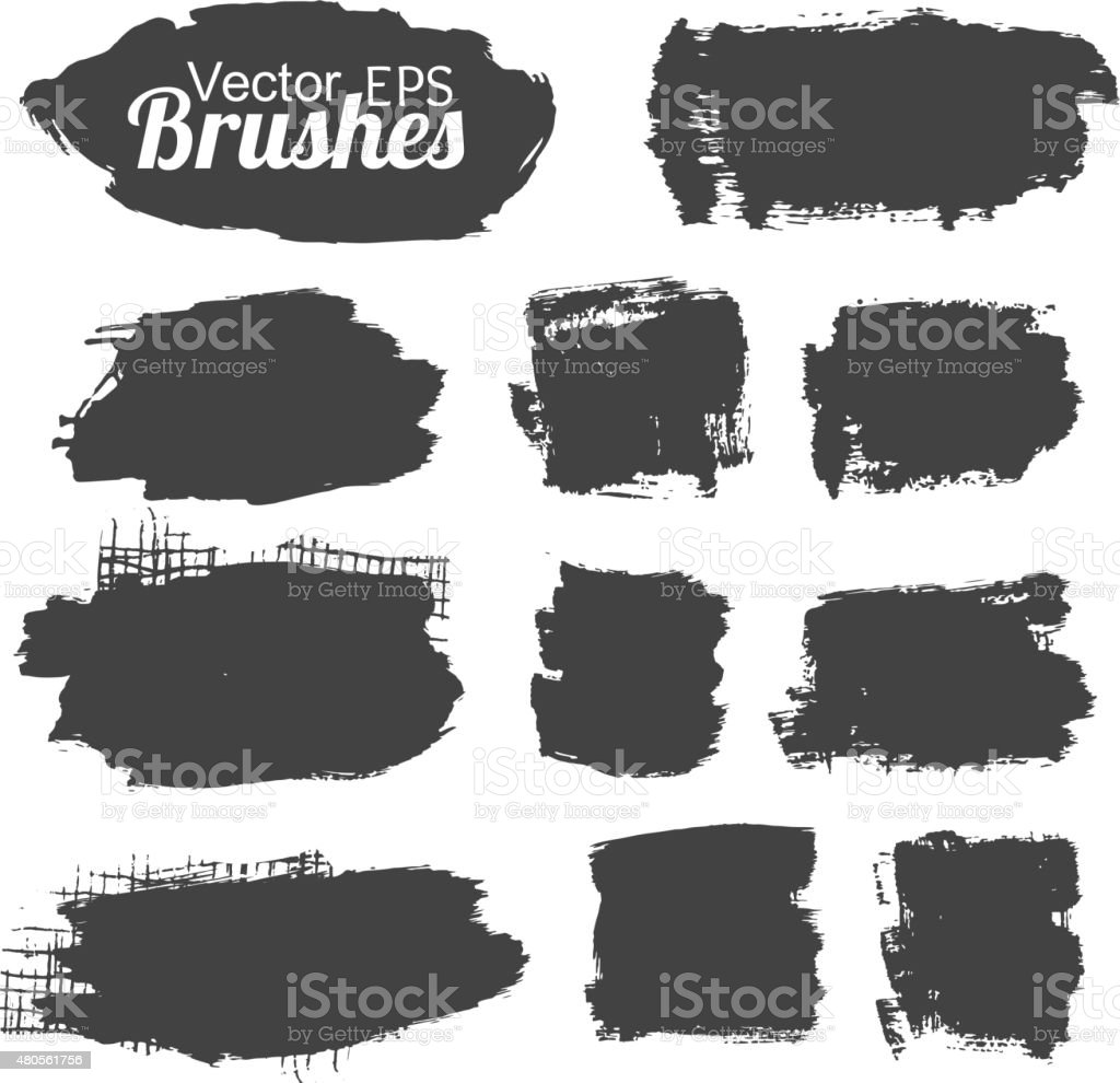 Black grunge brushes and banners vector art illustration