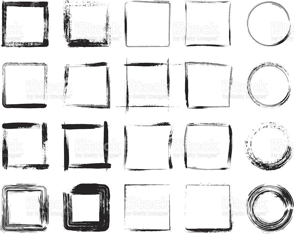 Black grunge frame icons designs vector art illustration