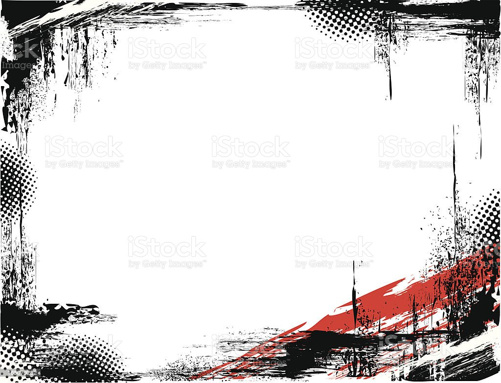 Black grunge frame with a red accent in the right corner vector art illustration