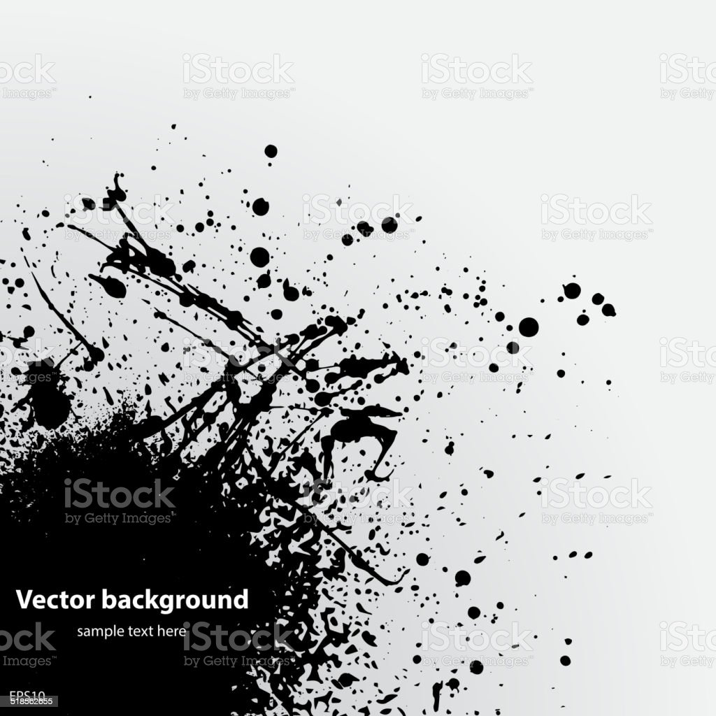 Black grunge ink blot vector art illustration