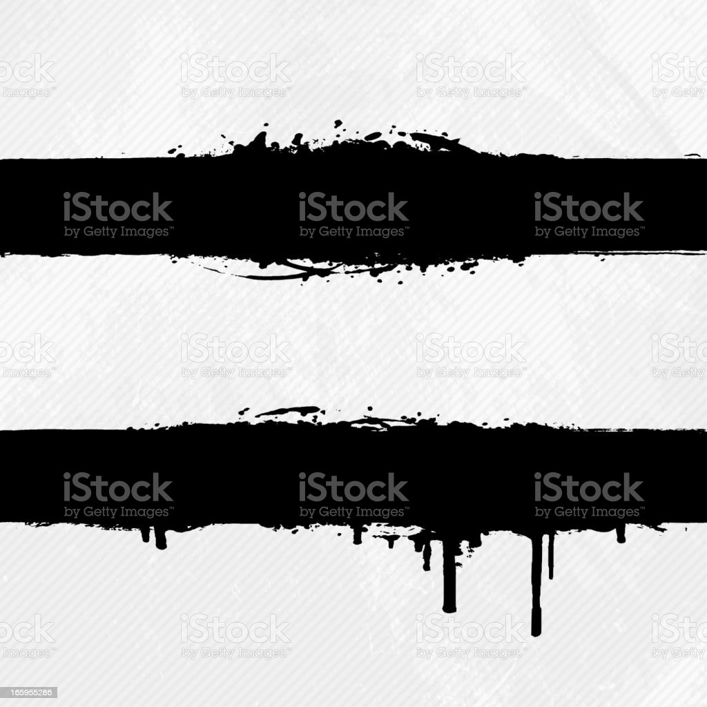 Black grungy ink banners on off white background vector art illustration