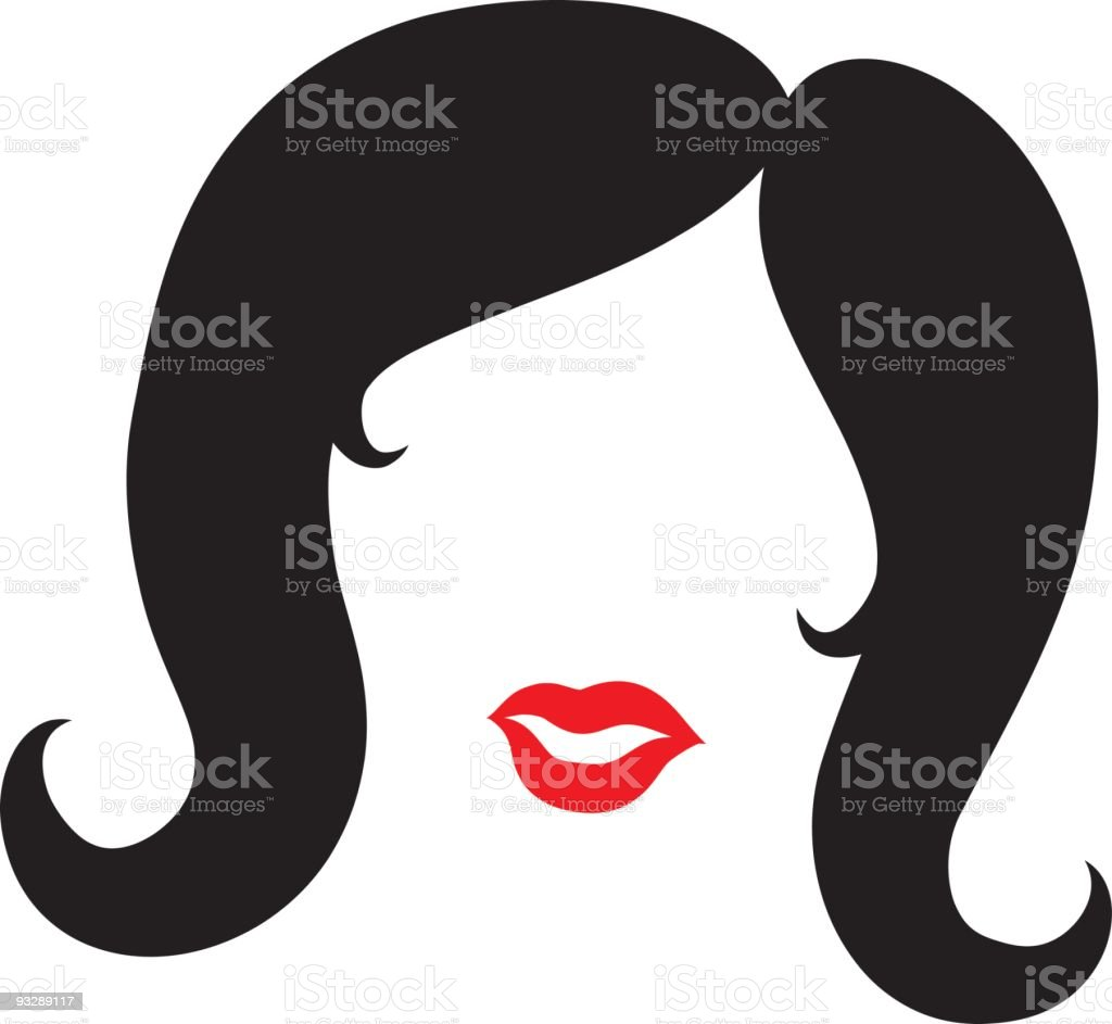 Black Hair and Red Lips royalty-free stock vector art