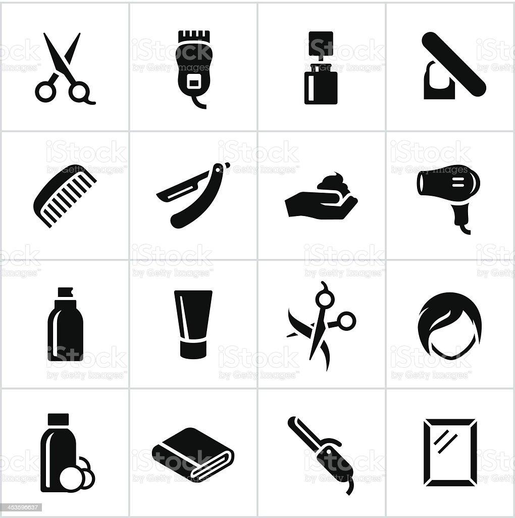 Black Hair Salon Icons vector art illustration