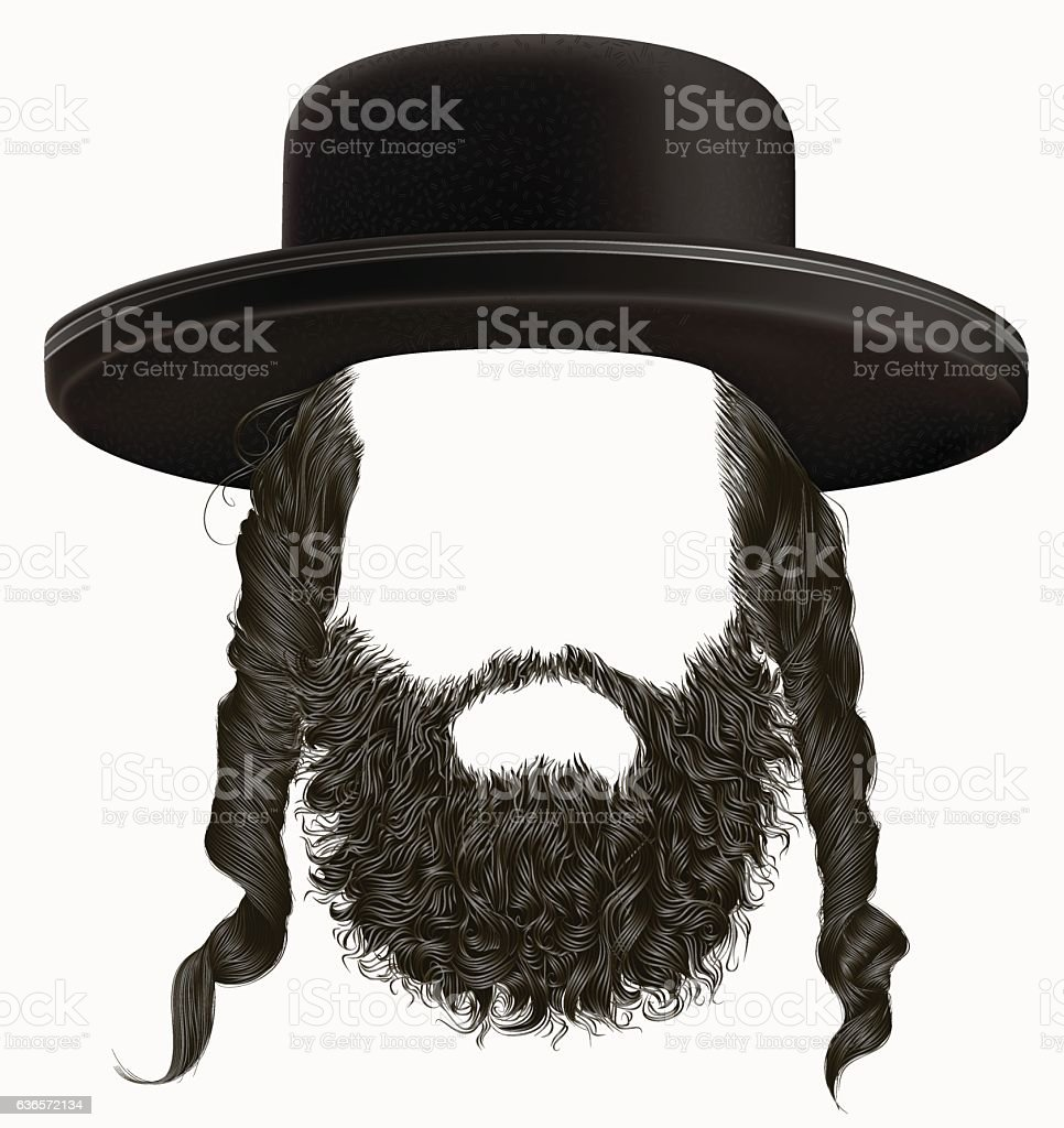 black  hair sidelocks with beard . mask wig jew hassid hat . vector art illustration