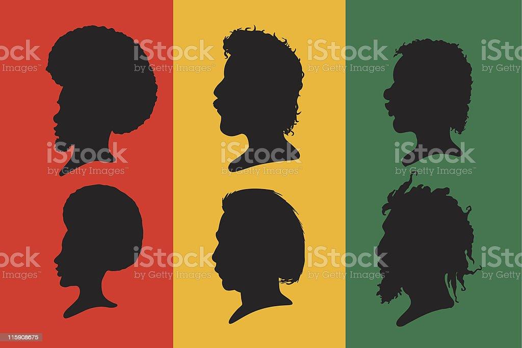 Black Hair Silhouette Set vector art illustration