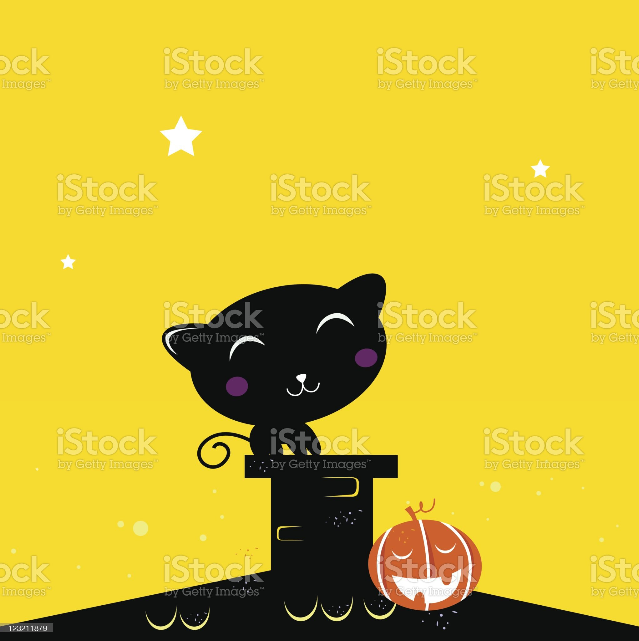 Black Halloween cat silhouette on the roof during dark night royalty-free stock vector art