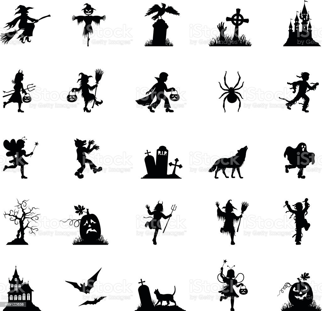 Black Halloween Icon Set vector art illustration