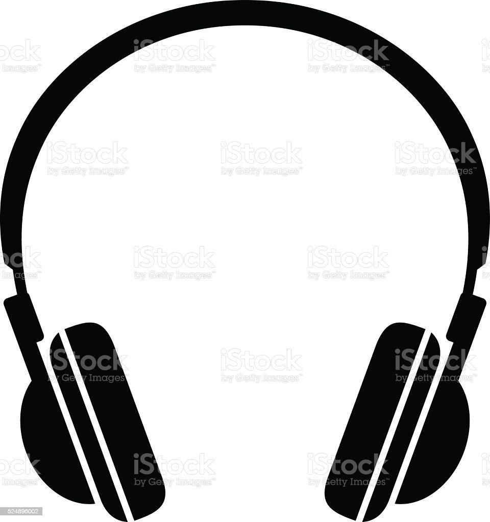 Black headphones icon vector art illustration