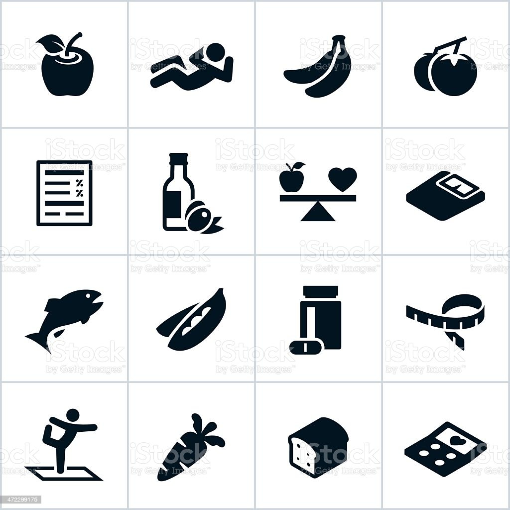 Black Health and Nutrition Icons vector art illustration