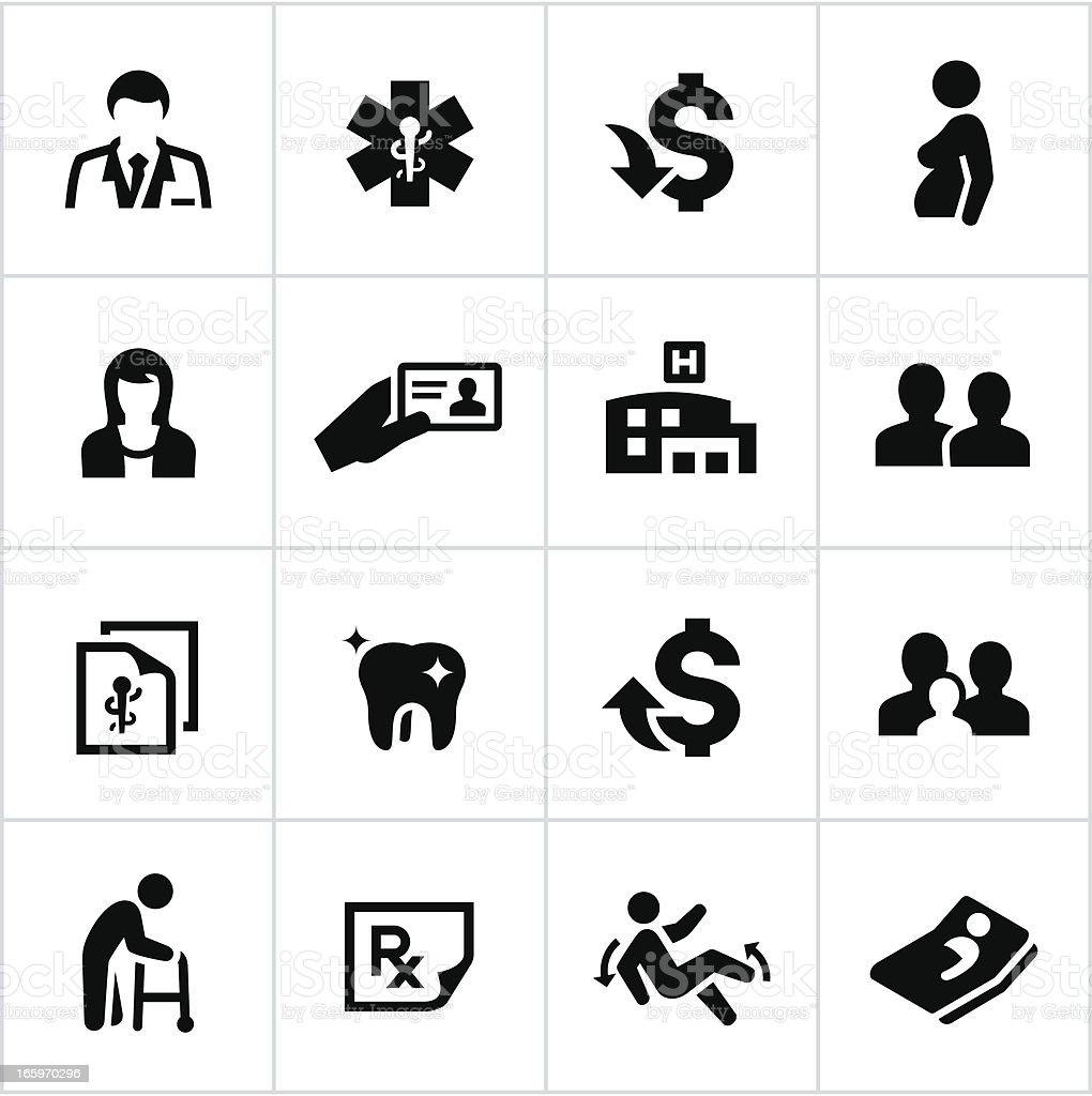 Black Health Insurance Icons vector art illustration