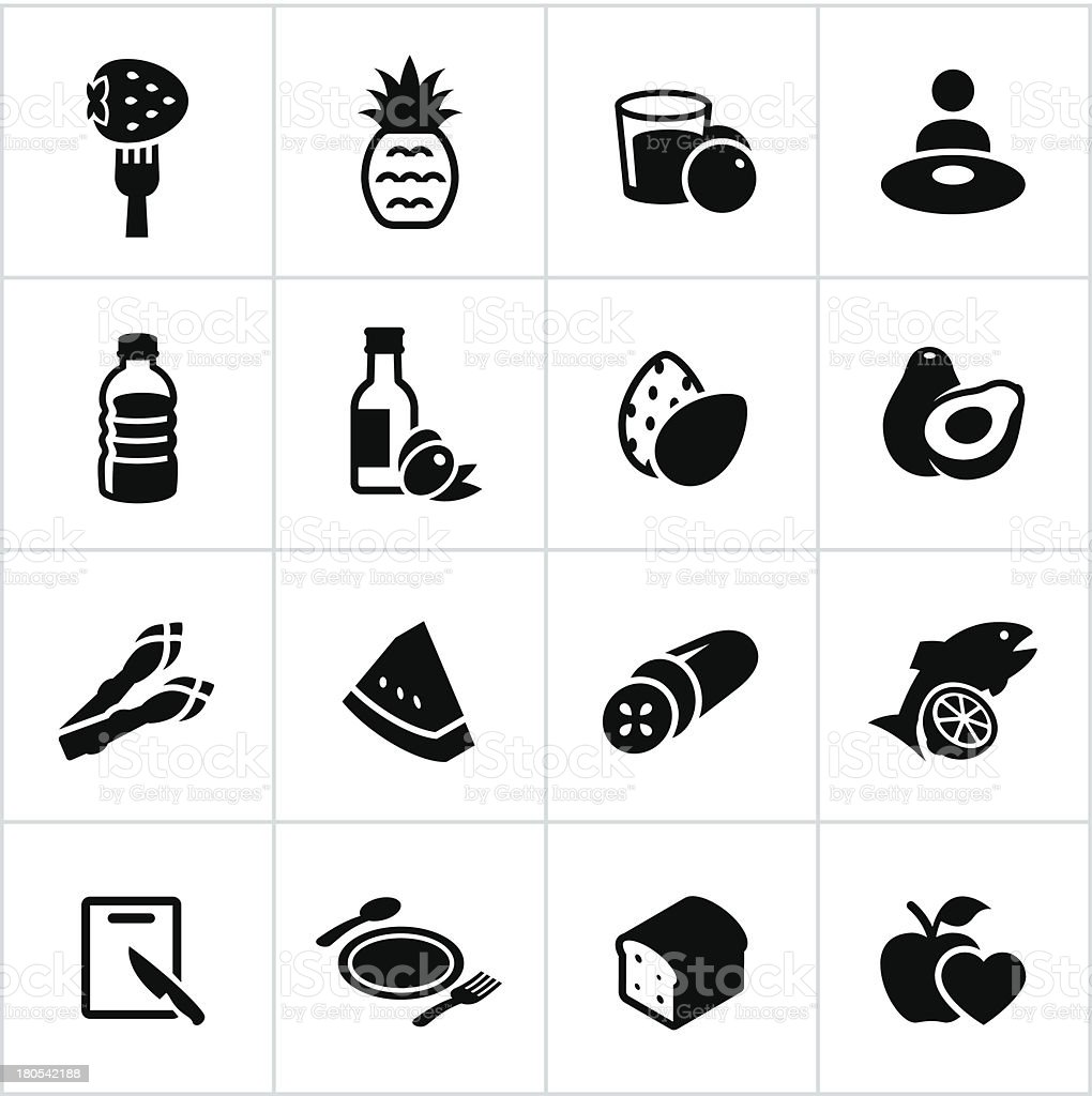 Black Healthy Eating Icons vector art illustration