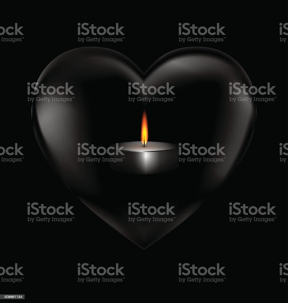 black heart and burning candle vector art illustration