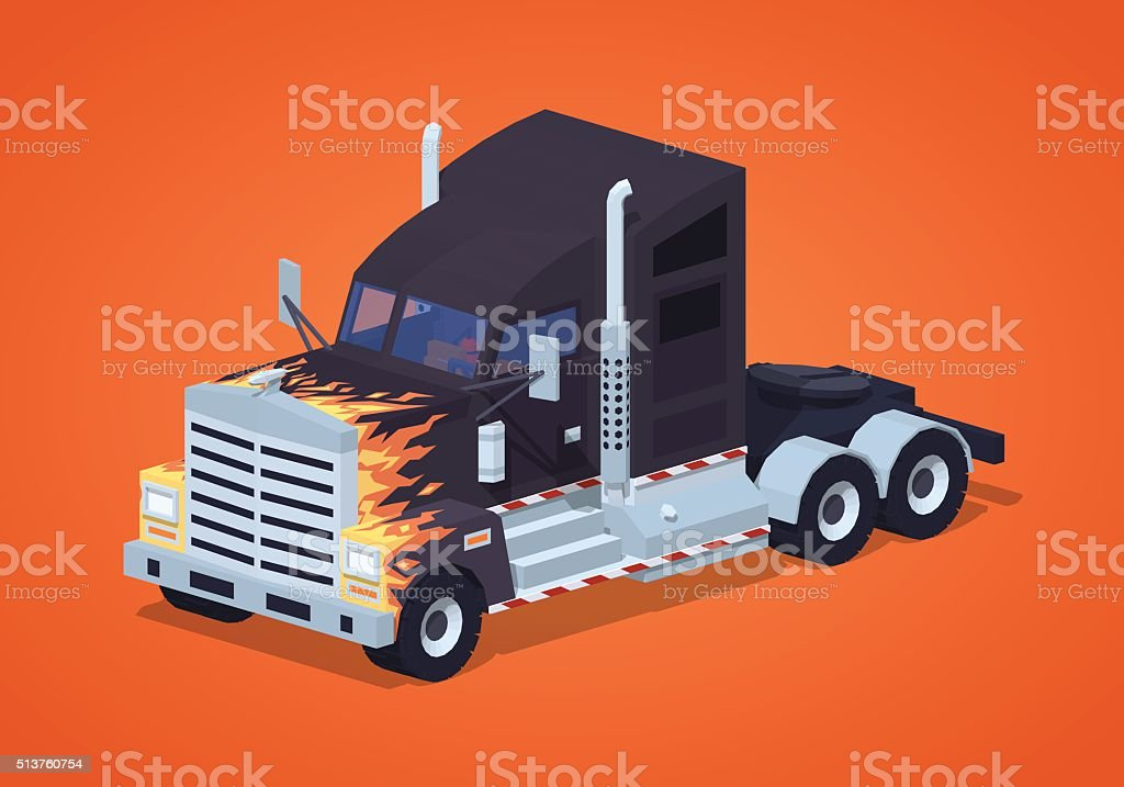 Black heavy american truck with the fire pattern vector art illustration