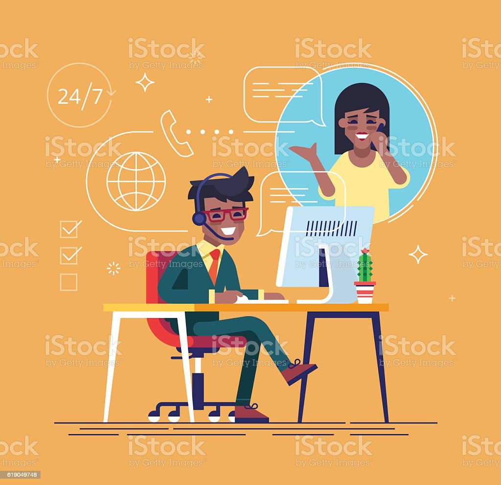 Black helpline operator consulting a client. vector art illustration