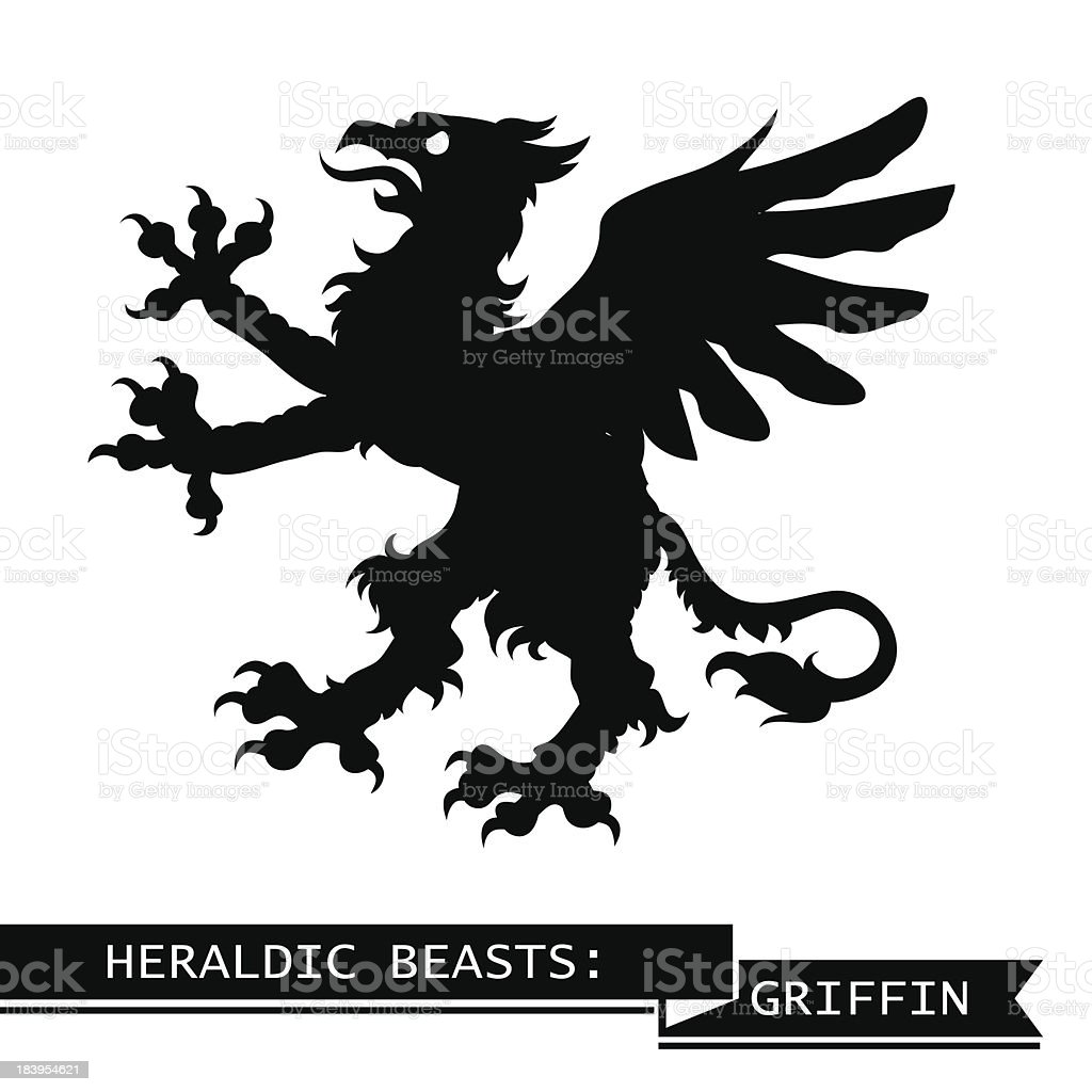 Black Heraldic Griffin vector art illustration