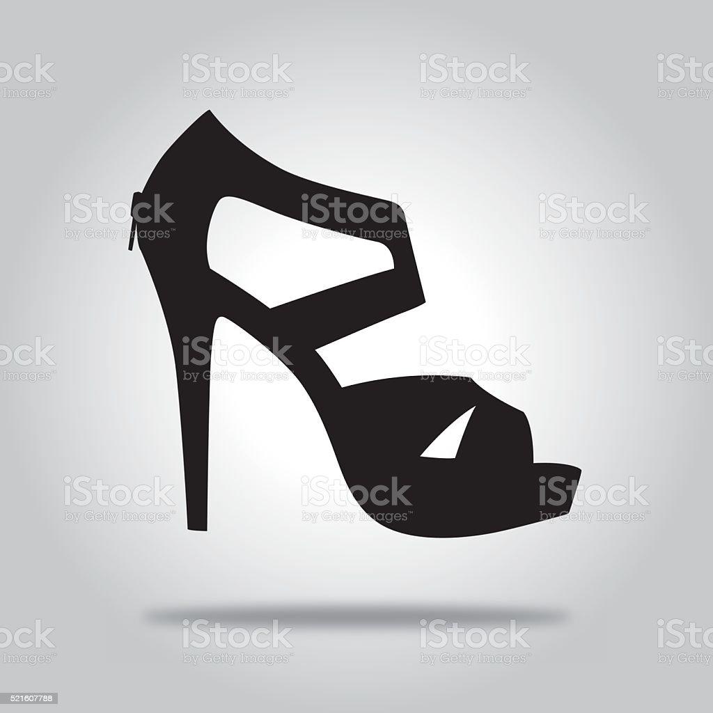 Black High heel Shoe icon vector art illustration