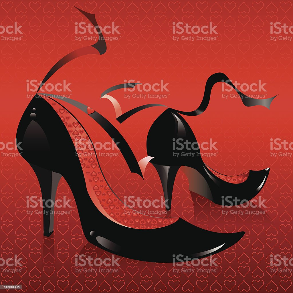 Black high heel shoes with red background royalty-free stock vector art