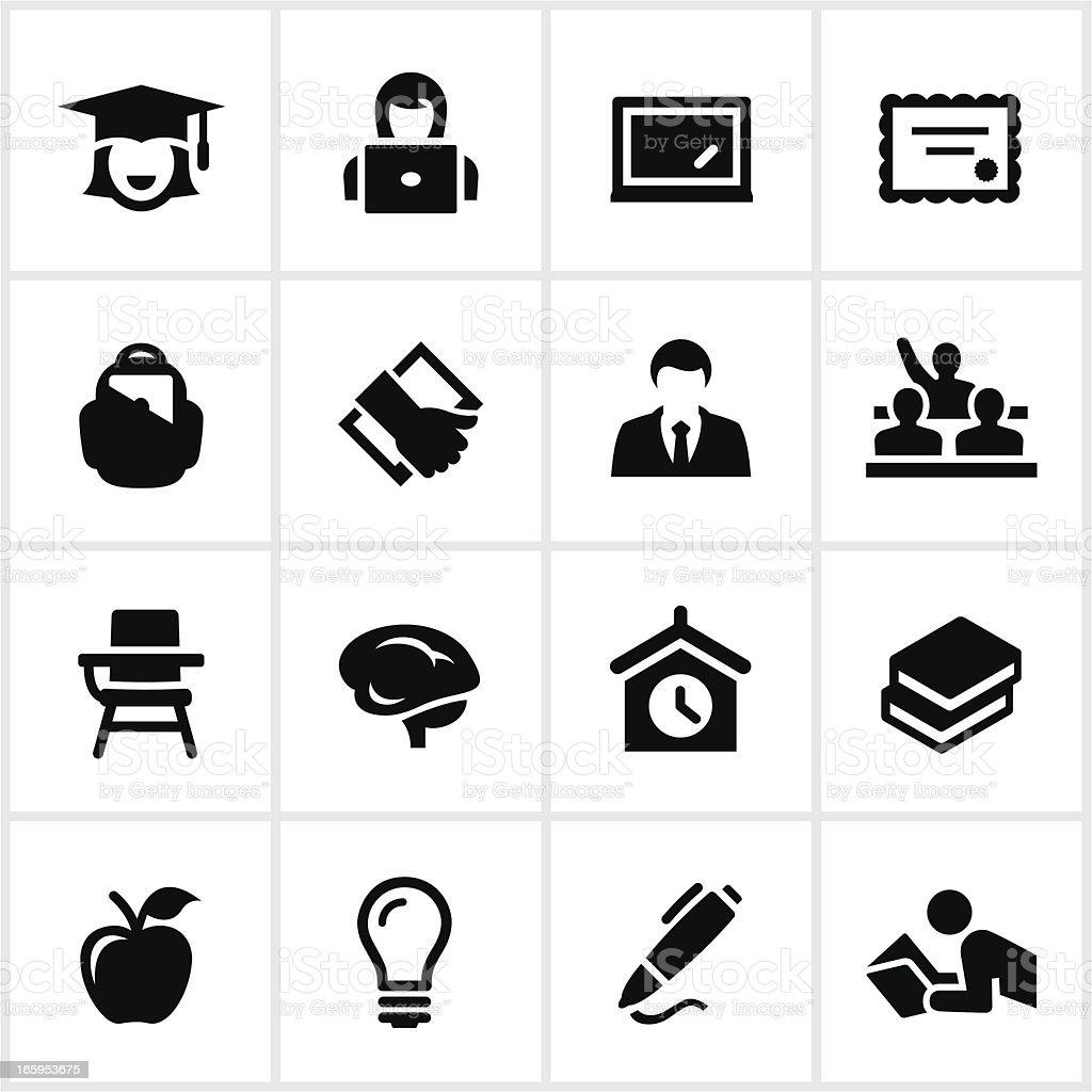 Black Higher Education Icons vector art illustration