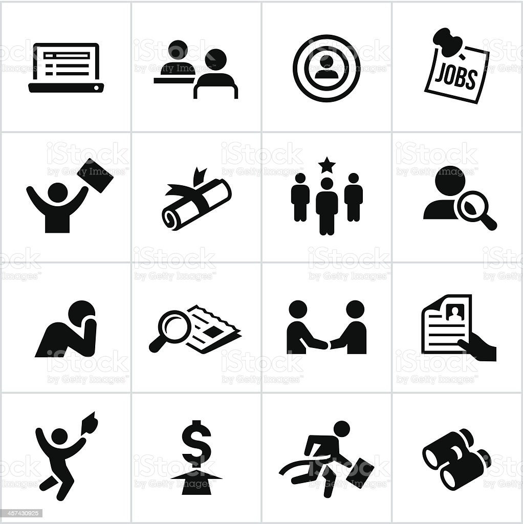 Black Hiring Icons vector art illustration