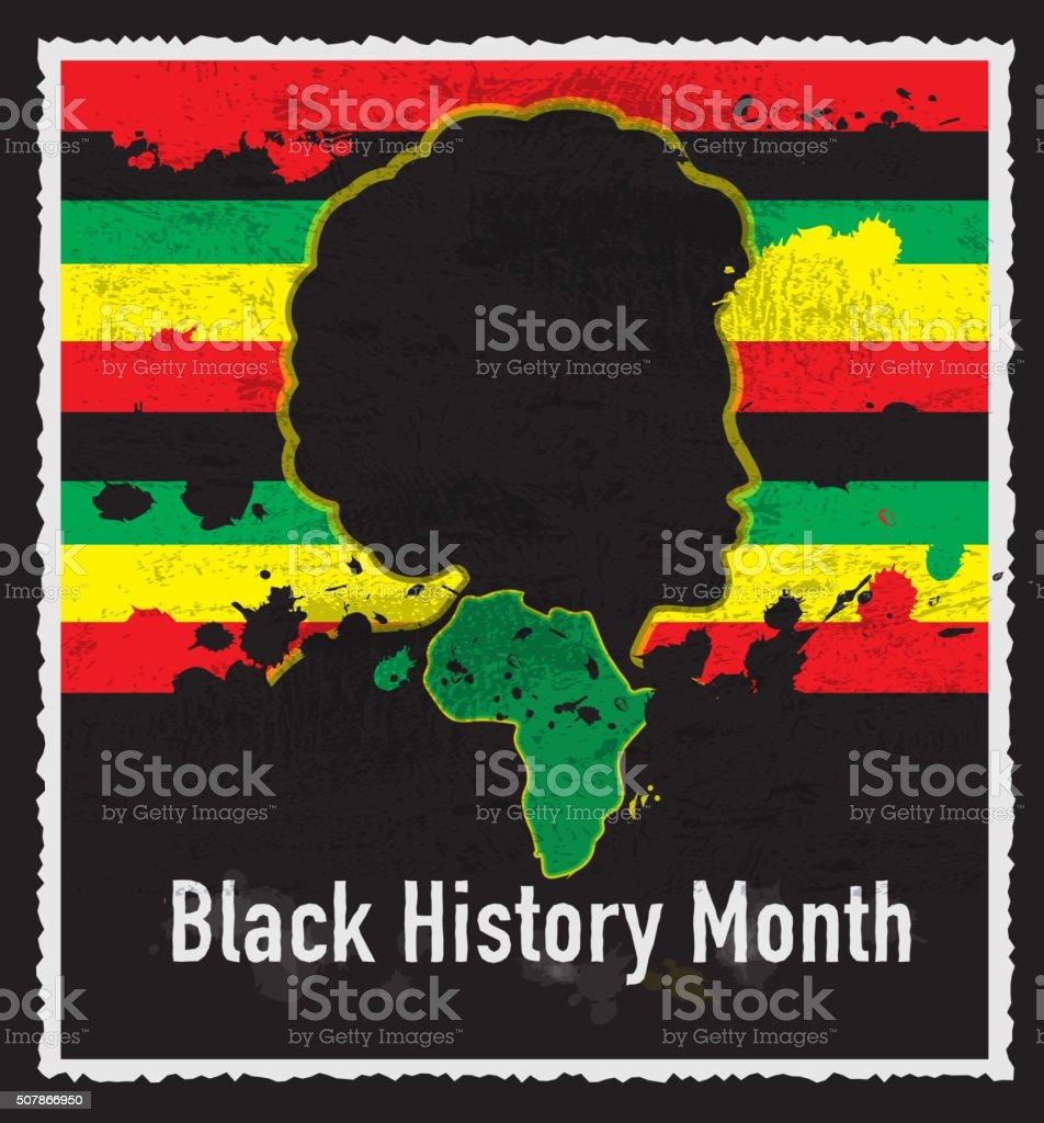 Black History month emblem design with side view of man vector art illustration