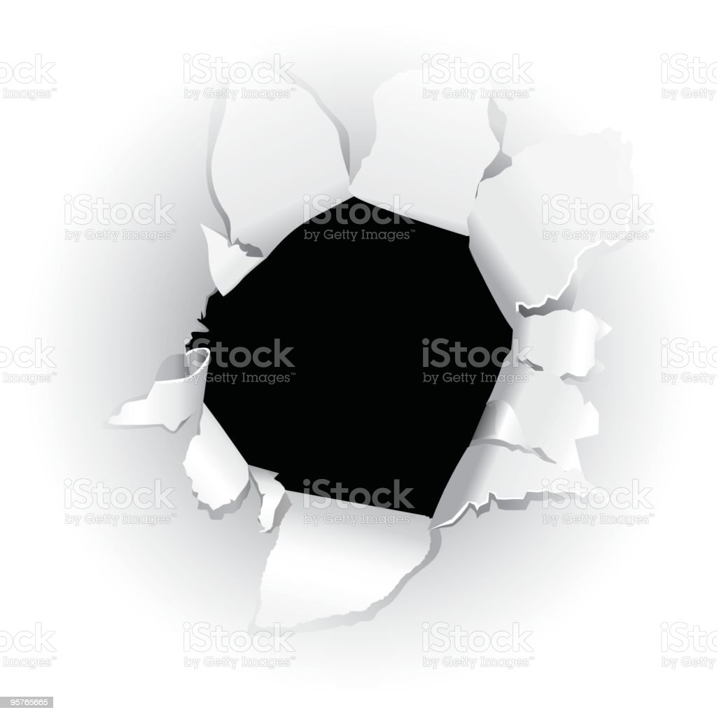 Black hole in paper royalty-free stock vector art