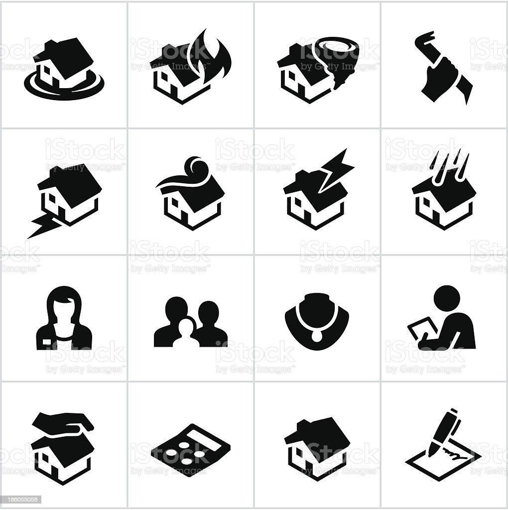 Black Homeowners Insurance Icons vector art illustration