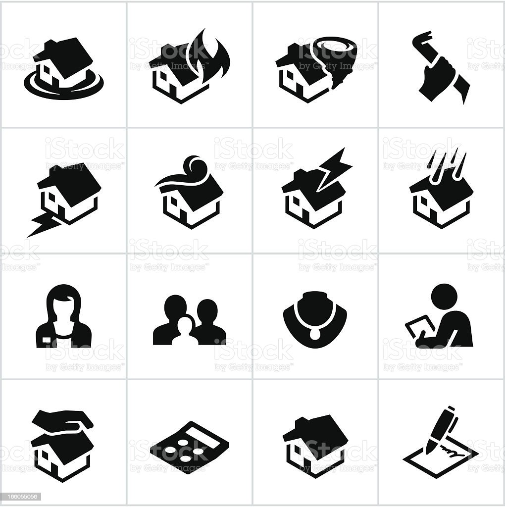 Black Homeowners Insurance Icons vector art illustration