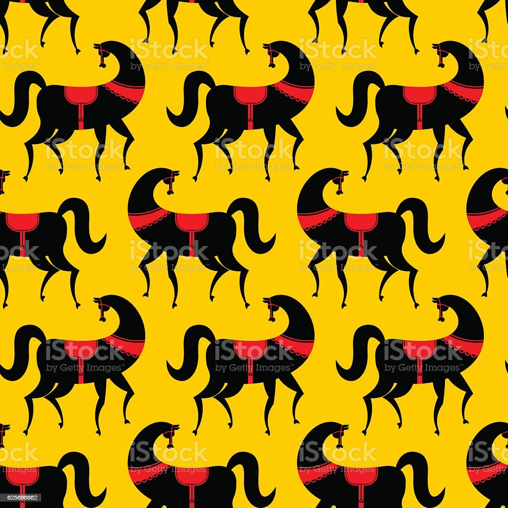 Black Horse Gorodets Painting Seamless Pattern Russian National ...