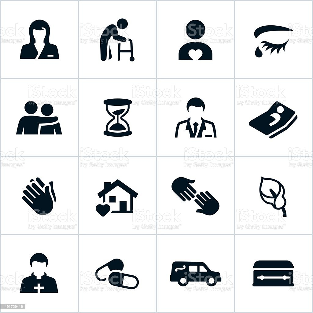 Black Hospice Care Icons vector art illustration