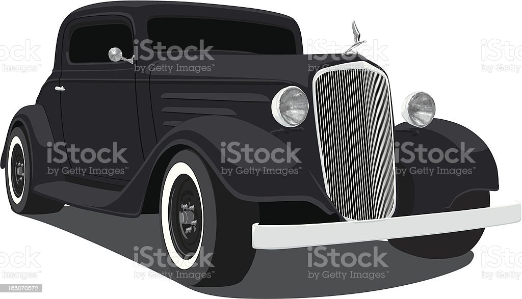 Black Hot Rod vector art illustration
