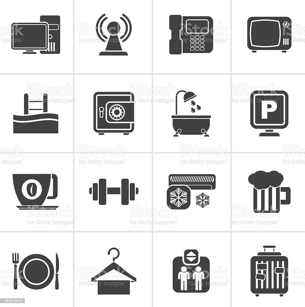 Black Hotel Amenities Services Icons vector art illustration
