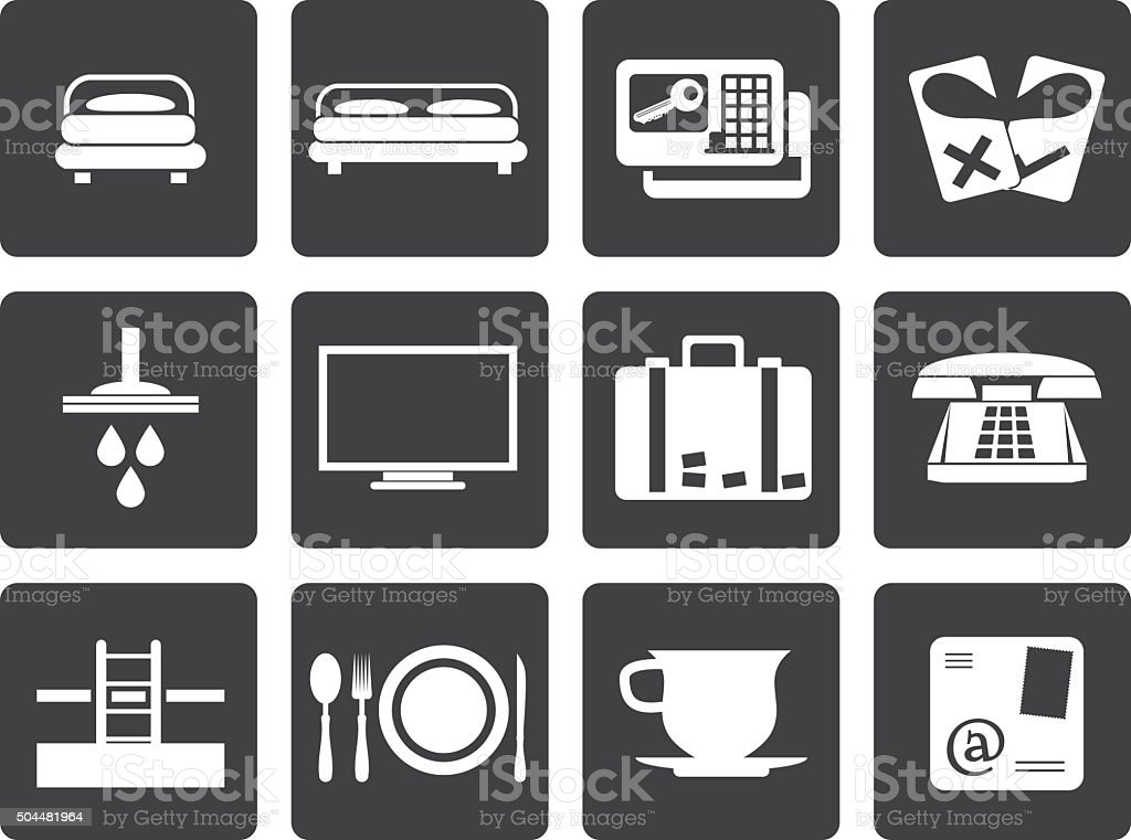 Black Hotel and motel icons vector art illustration